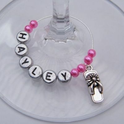 Flip Flop Personalised Wine Glass Charm